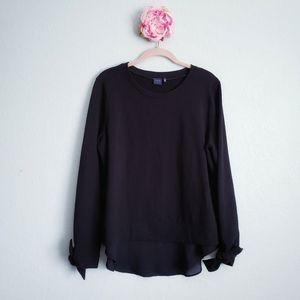 Kaari Blue Mixed Media Lightweight Sweater Blouse